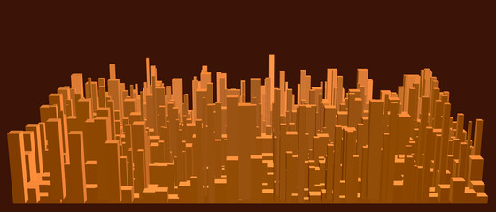 Abstract model of city. Vector illustration.