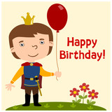 Funny Prince in cartoon style with balloon - happy birthday card