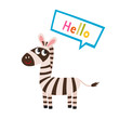 Vector set of cartoon funny zebra isolated on white background.