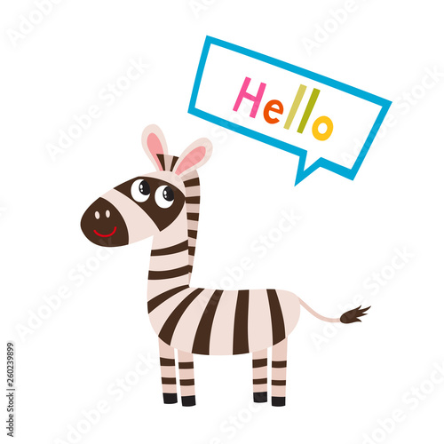 Vector set of cartoon funny zebra isolated on white background. - 260239899