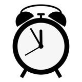 simple flat black and white classic alarm clock icon