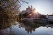 Leinwandbild Motiv Melk abbey against sunrise during spring time in Austria, Wachau area