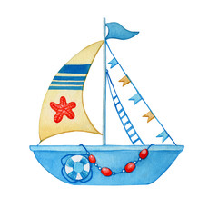 Stylized children blue boat with yellow sail, orange starfish, lifebuoy. Watercolor hand drawn painting illustration, isolated on a white background.
