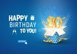 80 th years anniversary banner with open burst gift box. Template eightieth birthday celebration and abstract text on blue background vector illustration