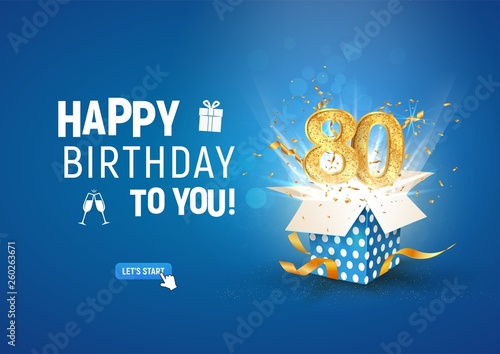 80 th years anniversary banner with open burst gift box. Template eightieth birthday celebration and abstract text on blue background vector illustration - 260263671