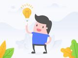 Wektorowy ilustracyjny pojęcie pomysł i innowacja. Młody biznesmen z żarówką.