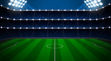Fototapeta Fototapety sport - Soccer stadium with green field. © Maxim Grebeshkov
