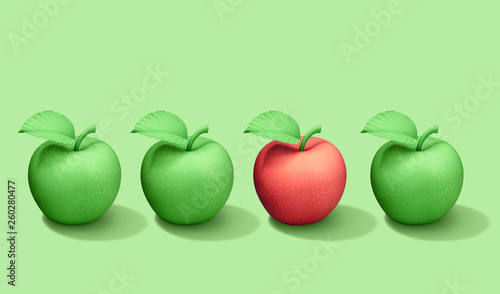 One red apple among green apples in row. Healthy food concept - 260280477
