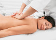 Quadro attractive woman with a perfect skin, getting massage therapy, lying on a massage table, in a spa center. Wellness back massage