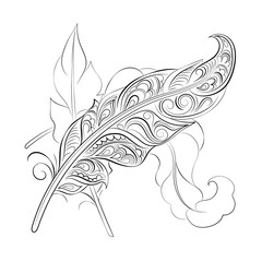 Vector illustration. Sketch of stylized feathers isolated on white background . EPS 8