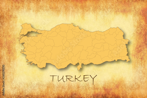 Old vintage style Turkey map, paper texture background © ytemha34