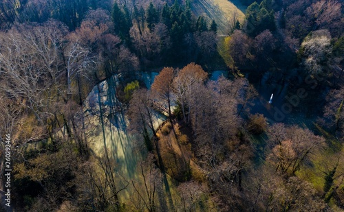 canvas print picture Lake and park from above