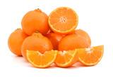 orange mandarines heap on white