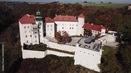 Historic castle Pieskowa Skala near Krakow in Poland. Aerial spectacular view in beautiful autumn