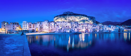 panoramic view at cefalu at night, sicily © frank peters