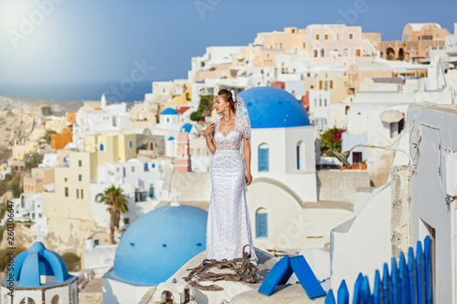 Young bride on the background Santorini