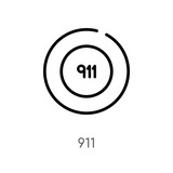 outline 911 vector icon. isolated black simple line element illustration from alert concept. editable vector stroke 911 icon on white background