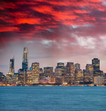 San Francisco, California. Panoramic sunset view of Downtown skyline - 260312675