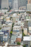 Aerial view of San Francisco steep street and skyline - 260314094