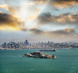 Alcatraz Island at dusk in San Francisco
