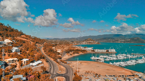 Panoramic aerial view of Airlie Beach skyline and Marina, Australia - 260314263
