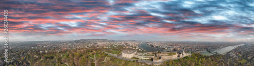 Panoramic aerial view of Budapest Citadel and city skyline at dusk, Hungary