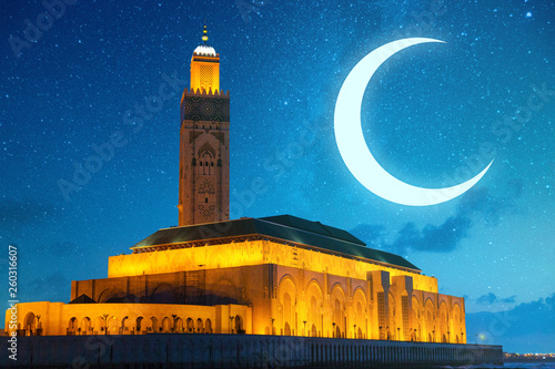 view of Hassan II mosque against a sky full of stars - Casablanca - Morocco © Morocko