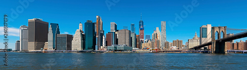 Panoramic New York City and Manhattan skyline with the Brooklyn Bridge - 260317079