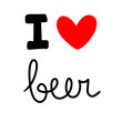 I love beer hand drawn lettering with heart symbol