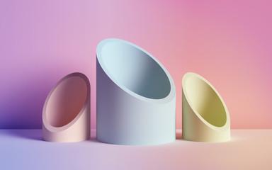 3d render, abstract background, tubes, primitive geometric shapes, pastel neon color palette, simple mockup, minimal design elements