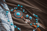 Boho chic style accessories. Fashionable set. Top view point. Natural ethno fashion