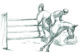 Fototapeta Fototapety z końmi - Show Jumping, hand drawn illustration. Line art technique on white. © kuco
