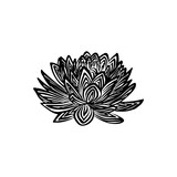 Hand drawn lotus flower outline sketch. Vector black ink drawing isolated on white background. Graphic illustration