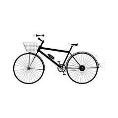 Bicycle with basket, sound horn and water bottle - vector illustration