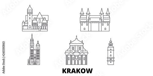 Poland, Krakow flat travel skyline set. Poland, Krakow black city vector panorama, illustration, travel sights, landmarks, streets.