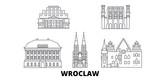 Poland, Wroclaw flat travel skyline set. Poland, Wroclaw black city vector panorama, illustration, travel sights, landmarks, streets.
