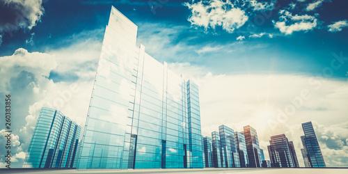 City in clouds 3d rendering - 260383856
