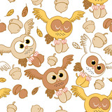 Cute owl on white background seamless pattern