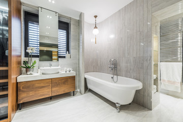 Modern bathroom interior in luxury apartment