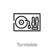outline turntable vector icon. isolated black simple line element illustration from discotheque concept. editable vector stroke turntable icon on white background