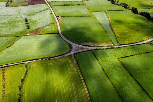 canvas print picture São Miguel - Azoren aus der Luft. Ponta Delgada - Sehenswürdigkeiten der Azoren von oben