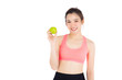 canvas print picture - Beautiful portrait young asian woman in sport clothing with satisfied and holding green apple isolated on white background, girl asia have shape and wellness, exercise for fit with health concept.