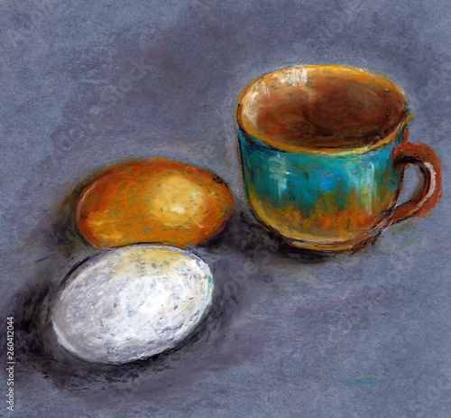 Simple still life with eggs and a Cup of coffee © Jeshta