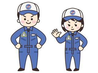 宇宙飛行士の男女