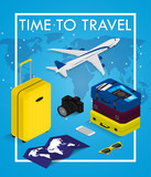 Travel concept in isometric style Time to travel. Passport, tickets, bags and airplane. Travel equipment. Vector illustration