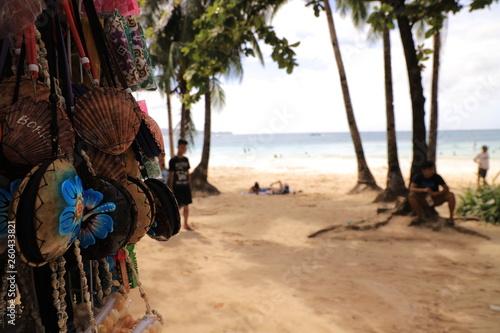 Souvenirs on White beach Boracay Island , Philippines