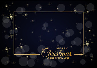 Merry Christmas text and golden frame, empty background, in black, made with starry sky and blurry lights