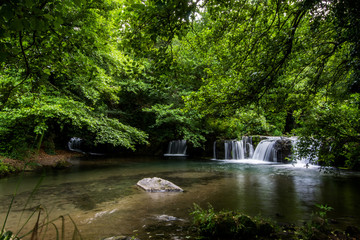 Waterfalls of Monte Gelato in the  Valle del Treja near Mazzano Romano, Lazio, Italy © puckillustrations