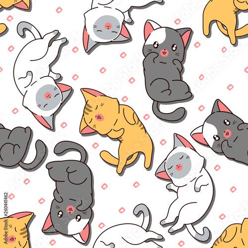 fototapeta na ścianę Seamless cute cat is sleeping pattern.