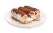 Leinwandbild Motiv Plate with tasty tiramisu on white background
